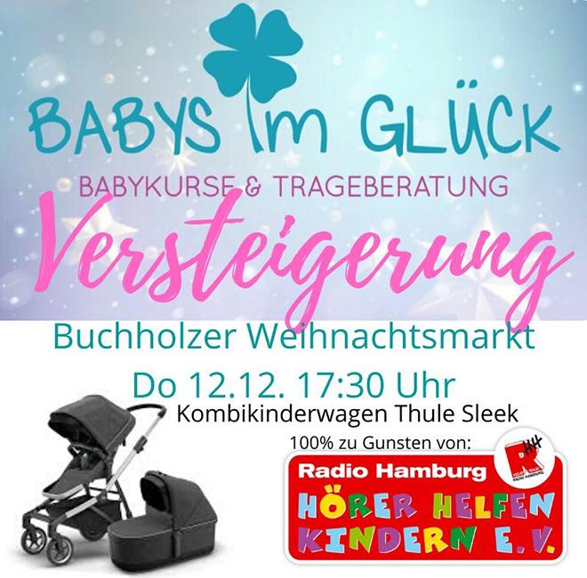 Flyer Babys im Glück Kinderwagenversteigerung für Hörer helfen Kindern