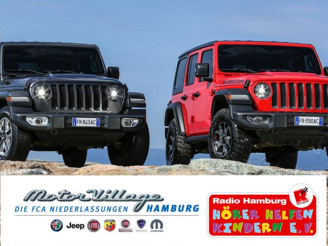 Introbild Mobile Spendensammlung Hörer helfen Kindern mit dem Jeep Wrangler