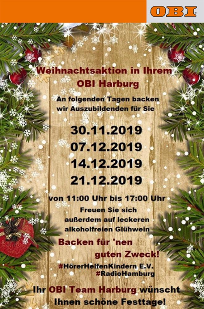 Poster Adventssamstage für Hörer helfen Kindern bei OBI Harburg