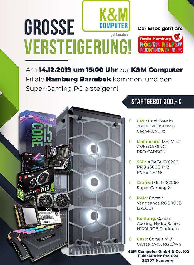 Poster Versteigerung bei K+M Computer für Hörer helfen Kindern