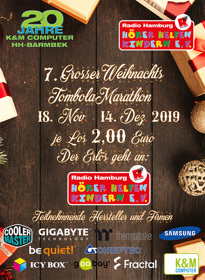 Poster Weihnachtstombola bei K&M Computer für Hörer helfen Kindern