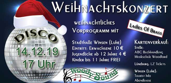 Poster Weihnachtskonzert Woundy's Sound für Hörer helfen Kindern