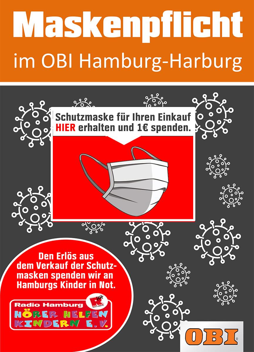 Flyer OBI Harburg mit Maskenpflicht und Spende für Hörer helfen Kindern