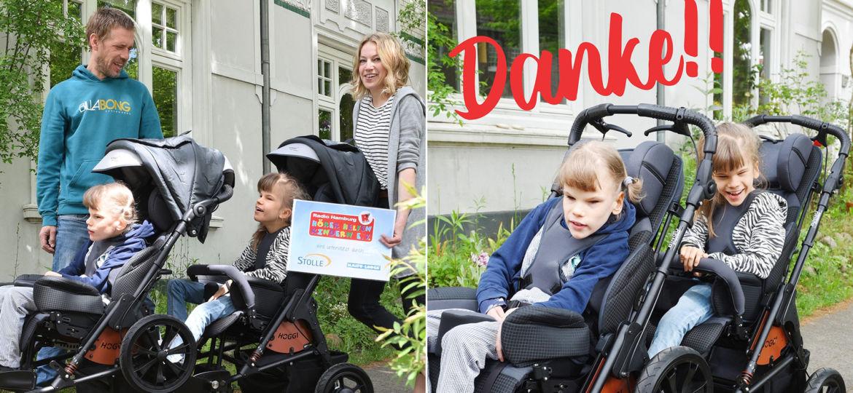 Introbild Enie und Luna bekommen ihren Zwillingswagen von Hörer helfen Kindern