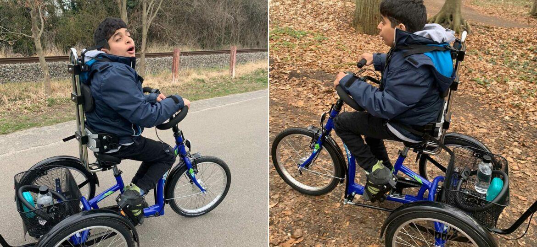 Introbild Robin bekommt sein Dreirad finanziert durch Hörer helfen Kindern